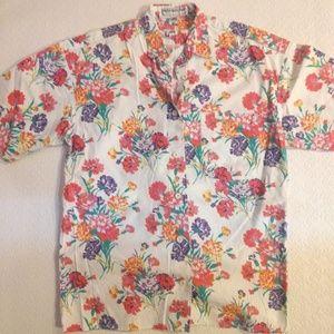 Vintage Floral Short Sleeved Button Up