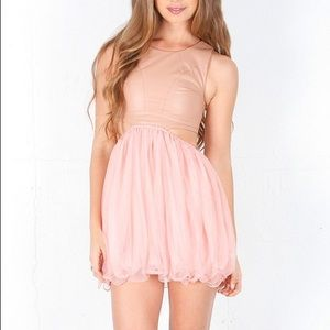 UNIF Prima Ballerina Faux Leather & Tulle Dress