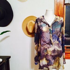 Mossimo Watercolor Print Tunic - Size Large