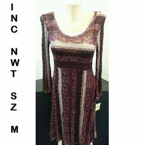 NWT INC Striped Knit Dress Burgundy Scoop Neck Med