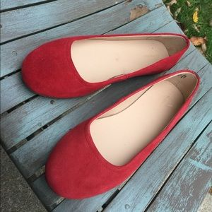 Women's Lands' End Red Suede Leather Flats 9M EUC