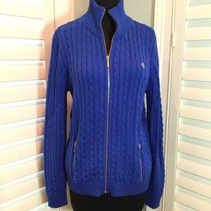 Ralph Lauren Cable Knit Zip Sweater, LG, Like New