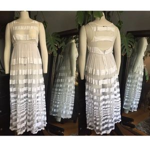 Foley and Corinna Sheer White Striped Maxi Dress M