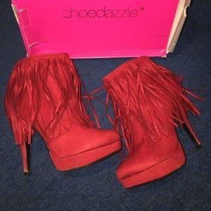 Shoe Dazzle Red Fringe Bootie