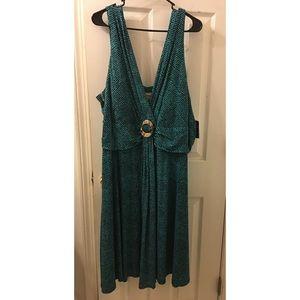 Kim Rogers jade green polka dot dress NWT