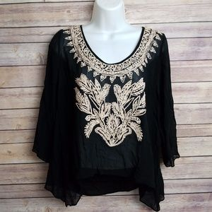 Plenty Tracy Reese Black Silk Embroidered Blouse