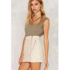 Nasty Gal You're A Natural Zip Skirt suede RARE