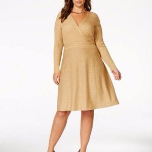 INC Fit And Flare Dress Gold Metallic NWT 1X Wrap