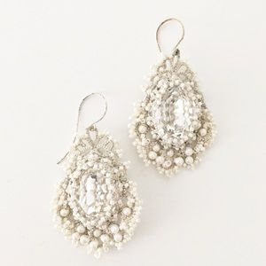 Anthropologie white crochet and pearl earrings
