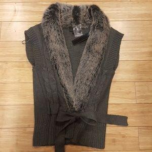 Sweaters - Fur Trimmed Cardigan Sweater