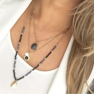 Express blue and gold Layered necklace