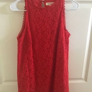 Red scallop dress