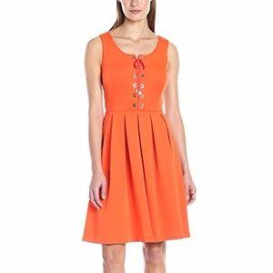 TOMMY HILFIGER Lace up Front Tangerine Dress