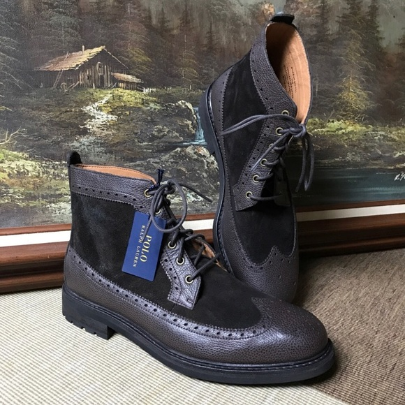 well known elegant and graceful new release Polo Ralph Lauren Nickson Wingtip Leather Boot NWT