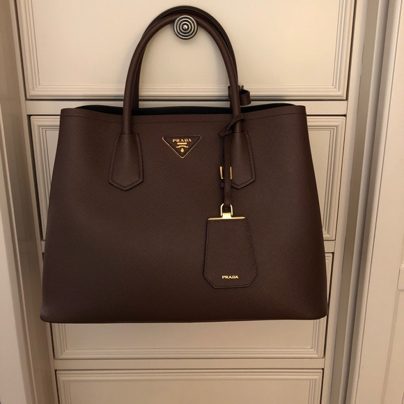2648c64627cd4e Prada Bags | Saffiano Cuir Double Bag Chocolate | Poshmark