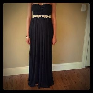 David's bridal black gown with silver belt