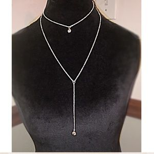 Dainty silver double layer necklace