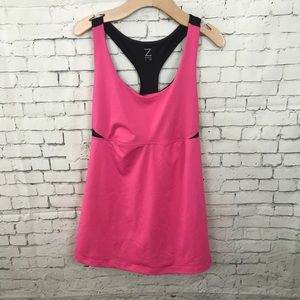EUC Z by Zella Pink and Black Racerback Tank Top