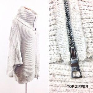 BCBGMaxAzria Sweaters - BCBG MAXAZRIA Beige/Tan Wool Zip Dolman Sweater
