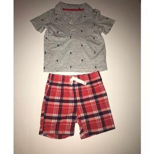 2pcs Carters Baby Boy T-Shirt & Shorts Size 18m