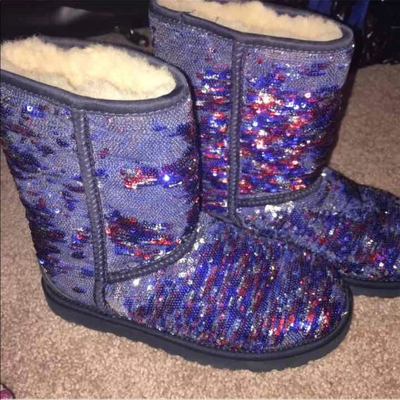 white and blue uggs