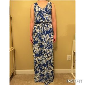 Lilly Pulitzer Blue and White Seahorse Maxi Dress