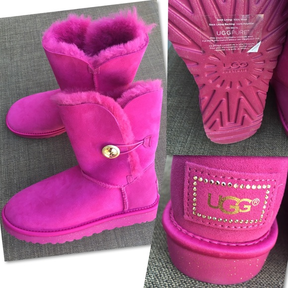ba7dae77d1b RARE NEW UGG BAILEY BUTTON BLING HOT PINK BOOTS 9 NWT