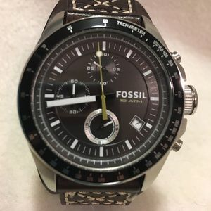 Fossil Men's watch with leather cuff band