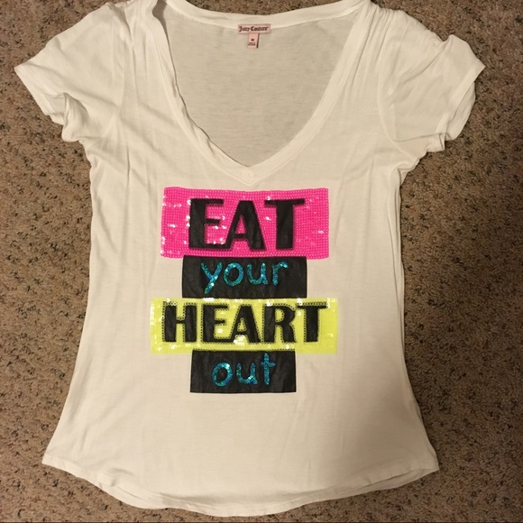 3030ddfc7 Juicy Couture Tops | Ivory And Neon Sequin Graphic Tee | Poshmark