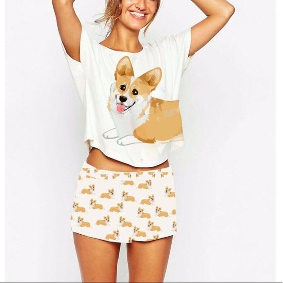 cb80cfac97b1 Corgi Pajama Set Crop Top   Shorts. M 59e16de7620ff7d9b3006fff