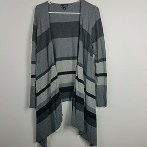 Gray and Black Waterfall Open Cardigan