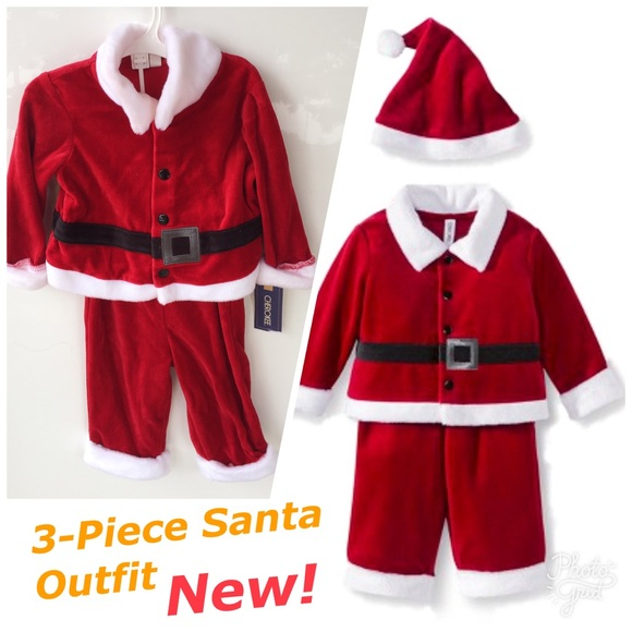 6fbbc7a05 Cherokee Costumes | Christmas Red Velvet Baby Boy 3 Pc Santa Outfit ...