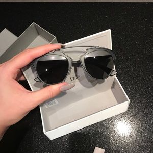 "Dior ""So Real"" Matte Black & Grey Sunglasses"