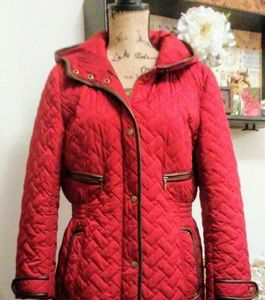 Cole Haan Cranberry Quilted Coat
