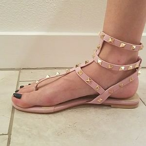 Pink and gold studded sandals