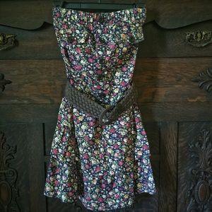 Strapless Belted Floral Dress