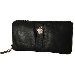 JUICY COUTURE BLACK LEaTHER DIAMOND WALLET