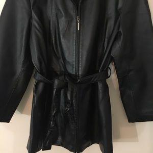 Worthington Jackets Coats Black Leather Pl Lined Zip Coat Tie