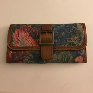 RVCA vintage style floral and leather wallet