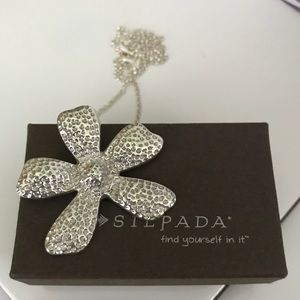 Silpada Large Hammered Daisy Flower Necklace