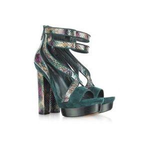 Rachel Zoe Payton $325 Green Velvet Snake Heels
