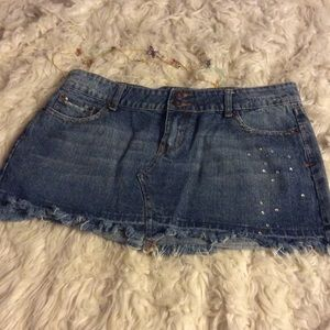 Wet Seal Jean skirt L destroyed retro-styling