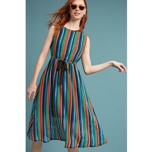 ANTHROPOLOGIE Eva Franco Rainbow Crochet Mid Dress