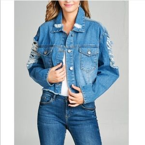 Jackets & Blazers - Crop Oversize Denim Jacket