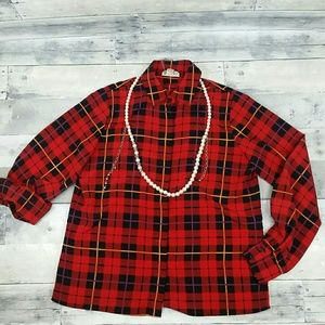 Perfect for the Holidays ~ Red Plaid Fluid Shirt