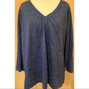 Woman's Shirt Sz 2X Blue V-neck