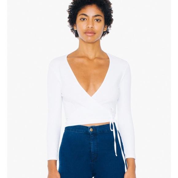99da302664 American Apparel Tops - American Apparel Julliard White Tie Crop Top Small