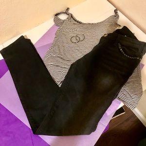 Current Elliott Black Studded Jeans