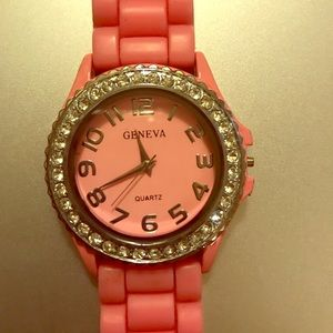 Pink rubber Ladies watch