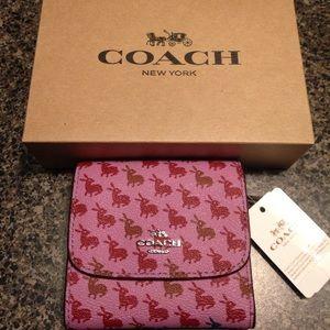 Coach bunny wallet lilac & oxblood NWT